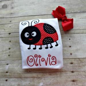 Girls Ladybug shirt, Ladybug Shirt for Toddlers, Infants Ladybug Shirt with Shorts, Hearts,Personalized, Embroidered, Appliqued