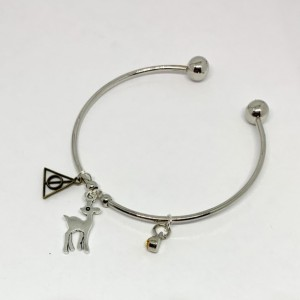 Harry Potter Deathly Hallows Patronus Bangle Charm Bracelet - Charm Jewelry - Gift for Her - Wizarding World - Magic Gift - Wizard Charms