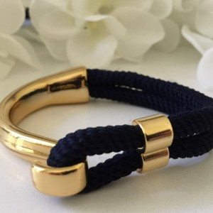 Navy Blue Rope Gold Half Hook Clasp Bracelet