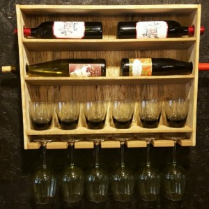Country Rustic Wine Rack with Stemmed and Stemless Wine Glass Storage