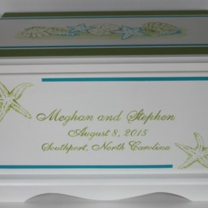 Sea Shells & Starfish Wedding Keepsake Chest Box personalized wedding gift