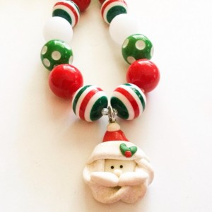 Christmas Chunky Necklace, Christmas Bubblegum Necklace, Santa Necklace, Holiday Necklace, Christmas Gumball Necklace, Holiday Jewelry