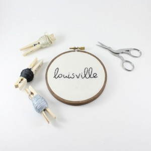 Custom City Name Embroidery Hoop Art