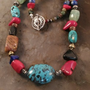 Blue Turquoise and Semi-Precious Necklace