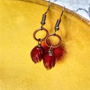 Blood Red Vintage Style Glass Earrings
