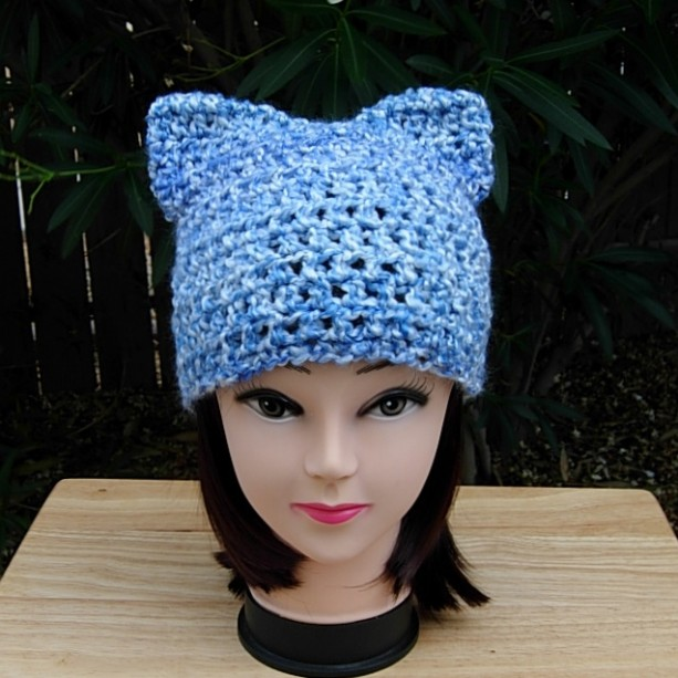 Blue and White PussyHat, Pussy Cat Hat with Ears, Extra Soft Acrylic Handmade Crochet Knit Winter Women's Protest Beanie, Resist, Ready to Ship in 3 Days