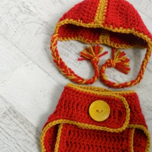 Crocheted Football Helmet and Diaper Cover - You Specify Team and Colors