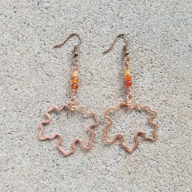 Maple Leaf earrings in orange