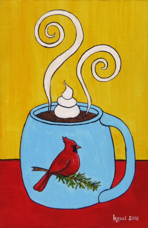 """Winter Mug: Cardinal"" original painting"