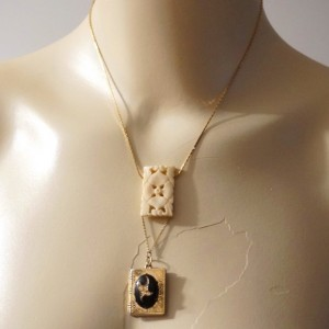 OOAK Vintage Carved Bone Flower Locket Pendant Sautoir Necklace