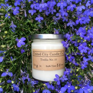 Trellis No. 51 -- A garden isn't complete without the sweet climbing lilac.100% soy candle. United City Candle Co Made in USA