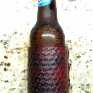 Leather beer koozie