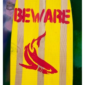 Shark Board - Bite Mark - Hanging Wall Surf Board Sign - Beach Decor