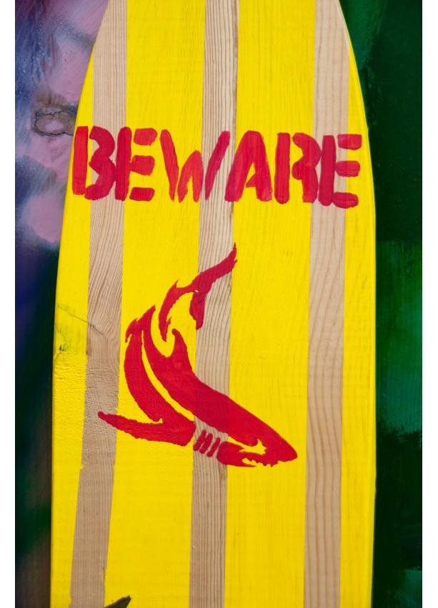 Shark Board - Hanging Wall Surf Board Sign - Beach Decor | aftcra
