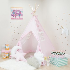 Pink with White Mini Stars Kids Teepee Set