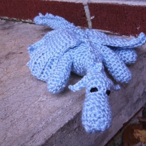 Crochet Snow Dragon Amigurumi Plush Toy Light Blue