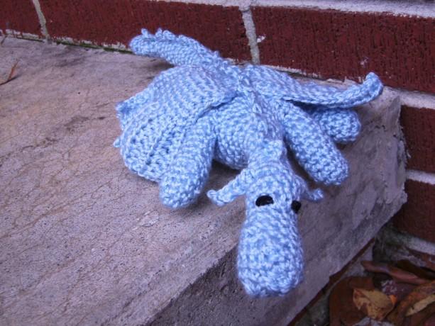 Crochet Snow Dragon Amigurumi Plush Toy Light Blue
