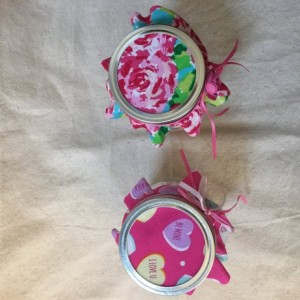 Fabric Topper Mason Jar filled with Candy Conversation Heart candies