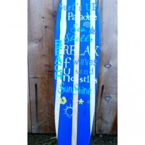 Surfs Up - Sunshine - Relax- Hanging Wall Surfboard Sign - Beach Decor