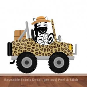 Zebra Driving Leopard Print Safari Jeep Wall Decal Sticker