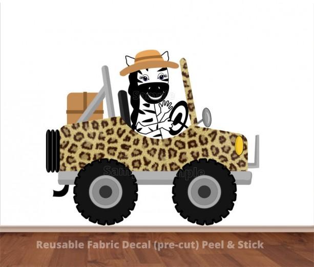 Zebra Driving Leopard Print Safari Jeep Wall Decal Sticker