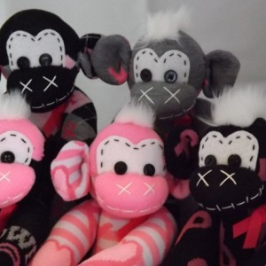 Sock monkey : Breast Cancer Harper ~ The original handmade plush animal made by Chiki Monkeys