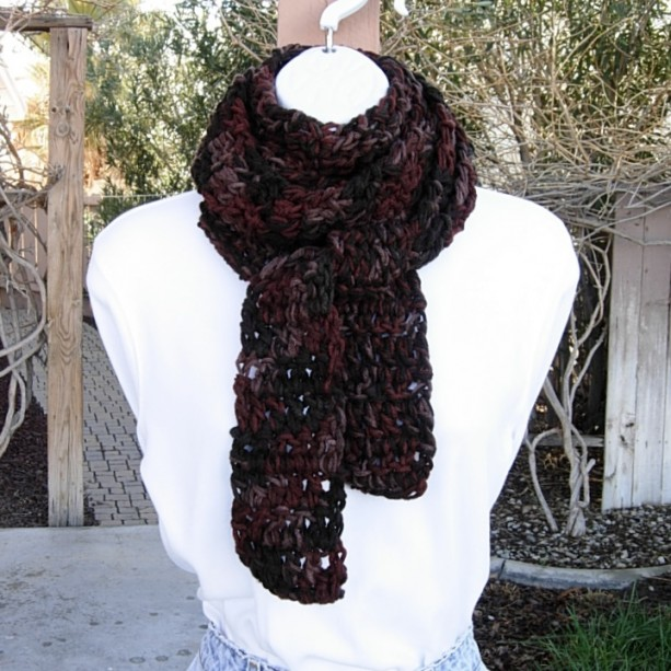 Extra Long Skinny Scarf Dark Brown & Rust Multicolor 100% Acrylic Neck Scarf Women's Narrow Wrap, Soft Thick Crochet Knit, Ready to Ship in 3 Days