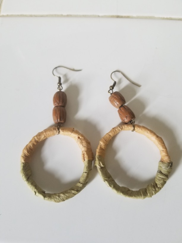 Milk Jug Earrings- tan & green