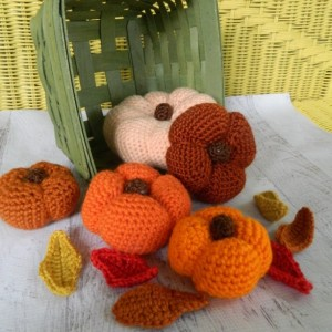 Crocheted Autumn Rustic Pumpkins and Fall Leaves for Mantle Decorating,Centerpiece, or Beautiful Thanksgiving Decor