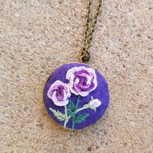 embroidered purple roses
