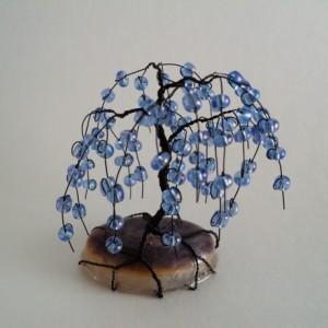 Black Wire and Blue-Purple Glass Bead Bonsai Tree