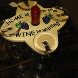 Wine Caddy - 4 glass holder - Home is where the Wine is waiting