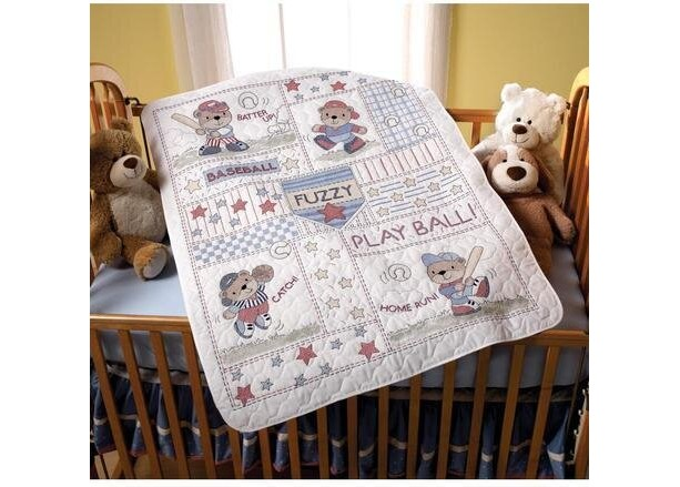 """ BASEBALL BUDDIES' EMBROIDERED CRIB COVER"