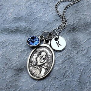 Saint Gabriel Necklace / Personalize with Birthstone or Initial / St Gabriel the Messenger Necklace / Archangel Gabriel