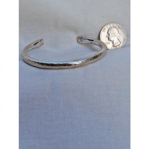 Sterling Silver Bracelet Linen Textured Heavy Gauge