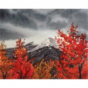 Burning Bush Mountain Print from Original Watercolor Painting, 5x7