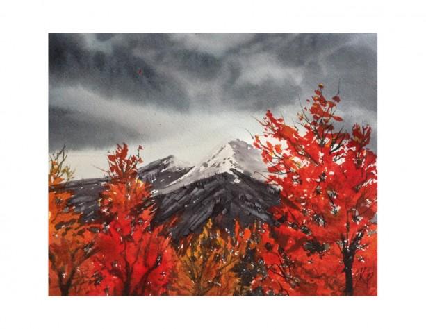 Burning Bush Mountain Print from Original Watercolor Painting, 8x10
