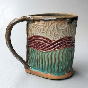Shrimp Pottery Coffee Mug Hand Built Microwave and Dishwasher Safe