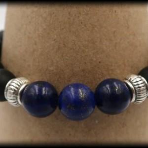 Matte Black Onyx and Lapis Lazuli Bracelet for Decision-Making