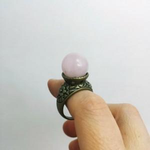 Pink Rose Quartz Crystal Ball Ring