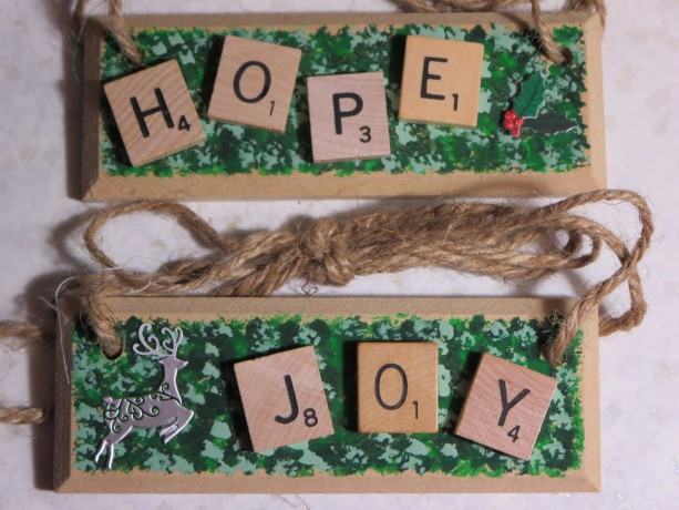 Set of 2 Scrabble® Game Tile Wooden Plaques Hope & Joy
