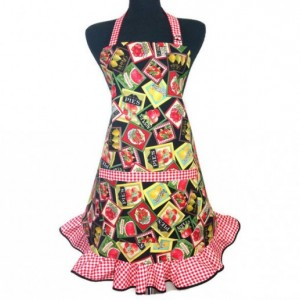 Retro Kitchen Apron for Women , Fruit Labels , Farmers Market , Red and White Check Ruffle