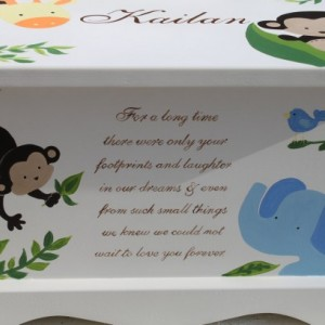 Monkeying Around Baby Keepsake Box Chest personalized baby gift