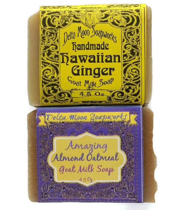 Handmade Goat Milk Soaps in Hawaiian Ginger and Almond Oatmeal ,Oatmeal Soap,Macadamia Oil Soap,olive oil soap, soap,sweet almond oil soap,
