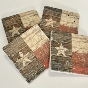 Rustic Texas State Flag Natural Stone Coasters, Set of 4 with Full Cork Bottom