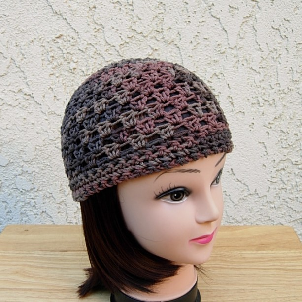 Dark Brown Rust Crochet Knit 100 Cotton Beanie Hat Chemo Cap