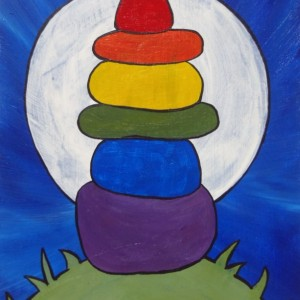 """Rainbow Cairn 2"" original painting"