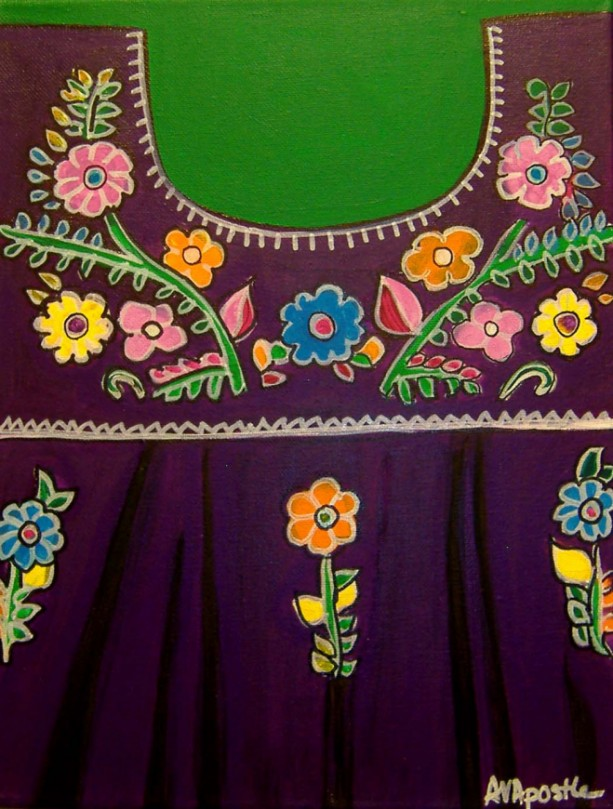 Mexican Folk Art-Girls Dress 2- PRINT Signed By Artist A.V.Apostle
