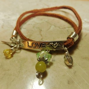 Brown Suede/leather wrap bracelet with silver tone love link and charms, heart, angel wing, yellow jade stone charm #B00236