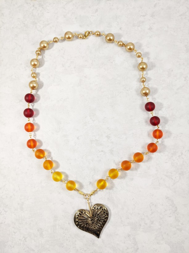 The Athena | handmade ombre red orange sea glass necklace, heart pendant, vintage jewelry, brass filigree, gold pearl, Gifts for Her